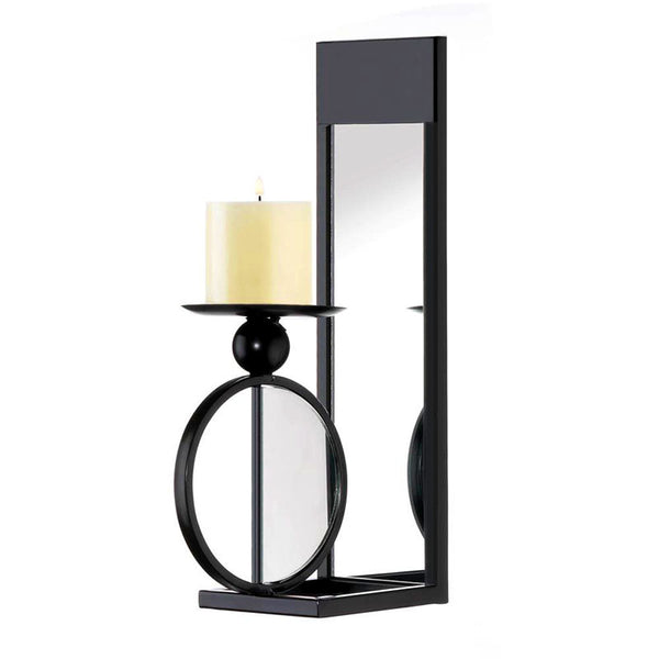 Wrought Iron Mirrored Wall Candle Sconce 10018637