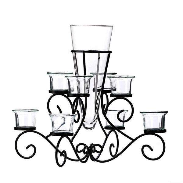 Wrought Iron Scrollwork Centerpiece Candle Stand with Vase 10015370