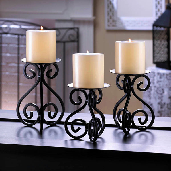 Wrought Iron Scrollwork Standing Candle Holder Trio 10015838
