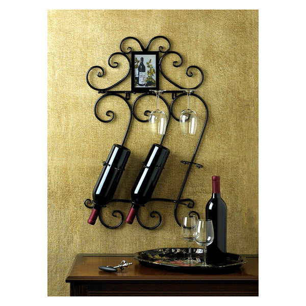 Wrought Iron Scrollwork Wall Wine Rack 10015695