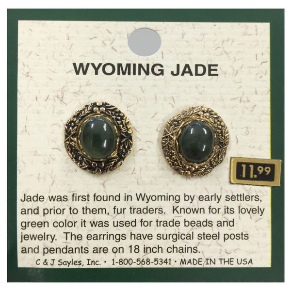 Wyoming Jade Large Antique Oval Earrings EP30