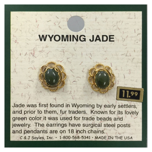 Wyoming Jade Large Oval Daisy Earrings EP200