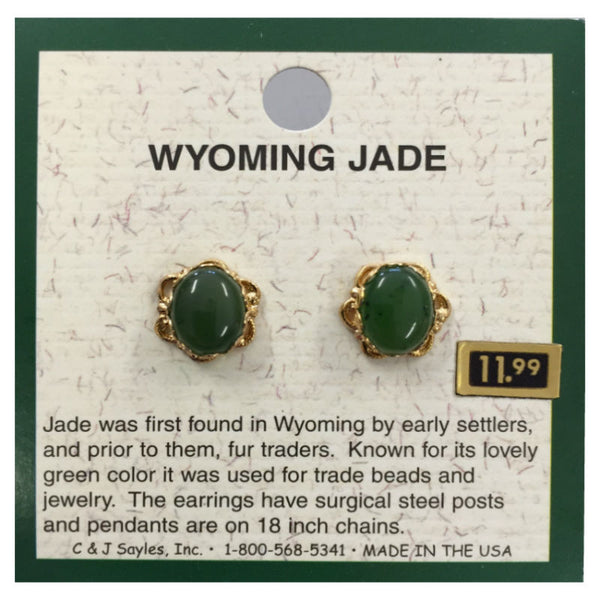 Wyoming Jade Large Oval Flowerlet Earring EP7