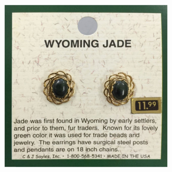 Wyoming Jade Large Petal Filigree Oval Earrings EP61