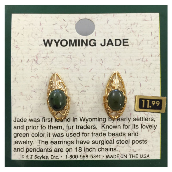 Wyoming Jade Oval Filigree Earrings EP90