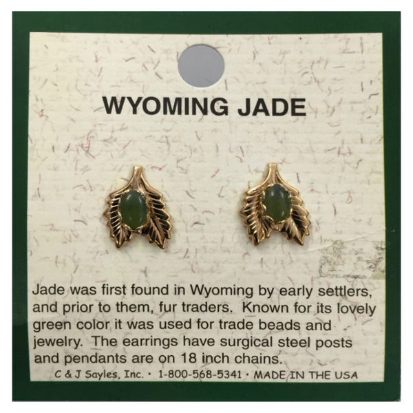 Wyoming Jade Small 2 Leaf Earrings EP194