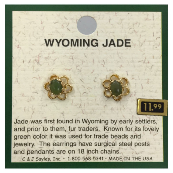 Wyoming Jade Small Oval Daisy Earrings EP3