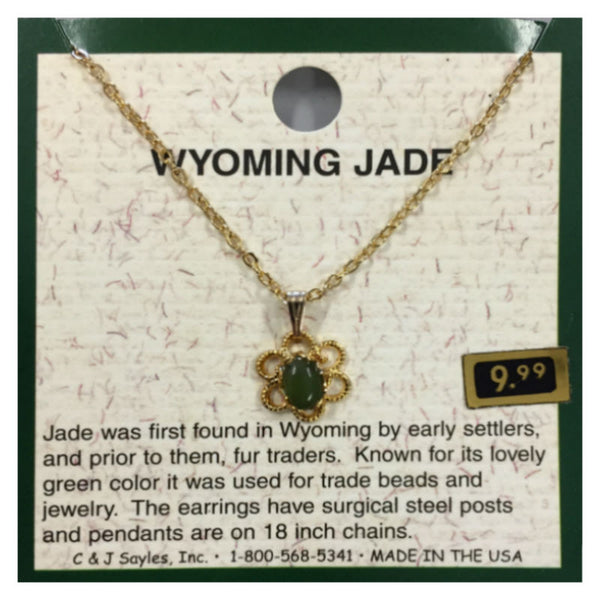 Wyoming Jade Small Oval Daisy Necklace PE3