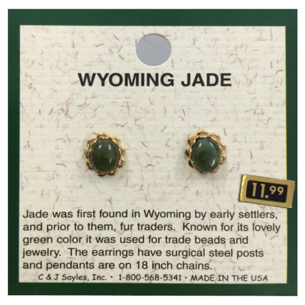 Wyoming Jade Small Oval Flowerlet Earrings EP110