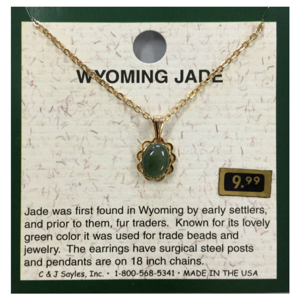 Wyoming Jade Small Oval Flowerlet Necklace PE110