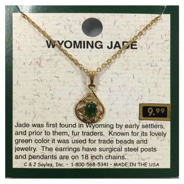 Wyoming Jade Teardrop Filigree Necklace PE34