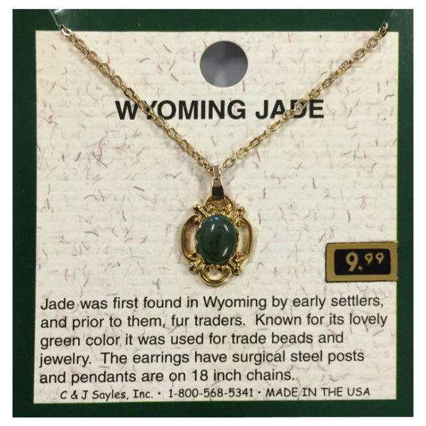 Wyoming Jade Victorian Filigree Oval Necklace PE24