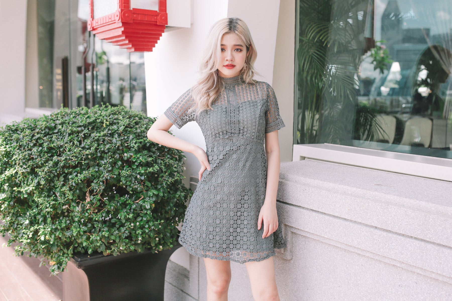 Maddison Crochet Lace Dress in Teal