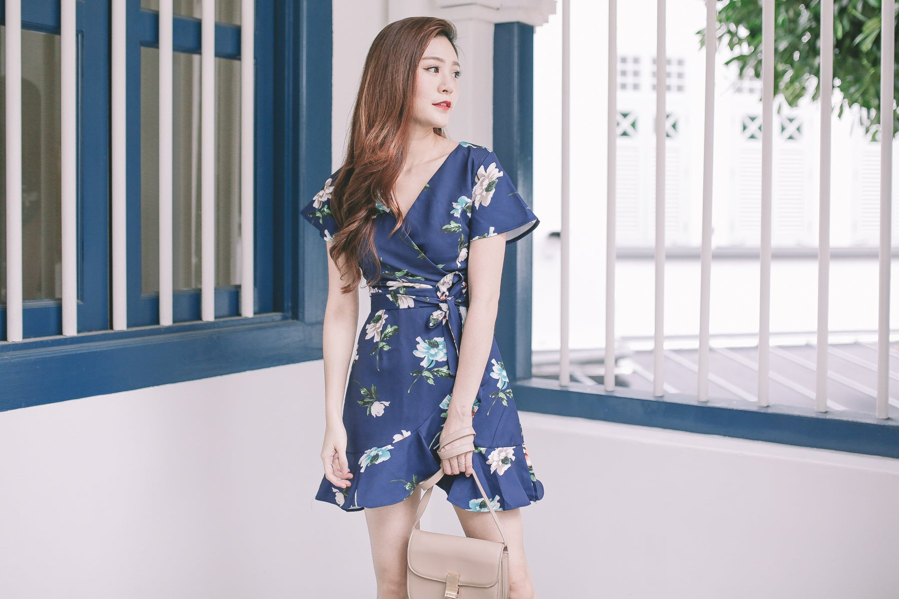[Restocked] Luna Floral Ruffled Wrap Dress in Navy