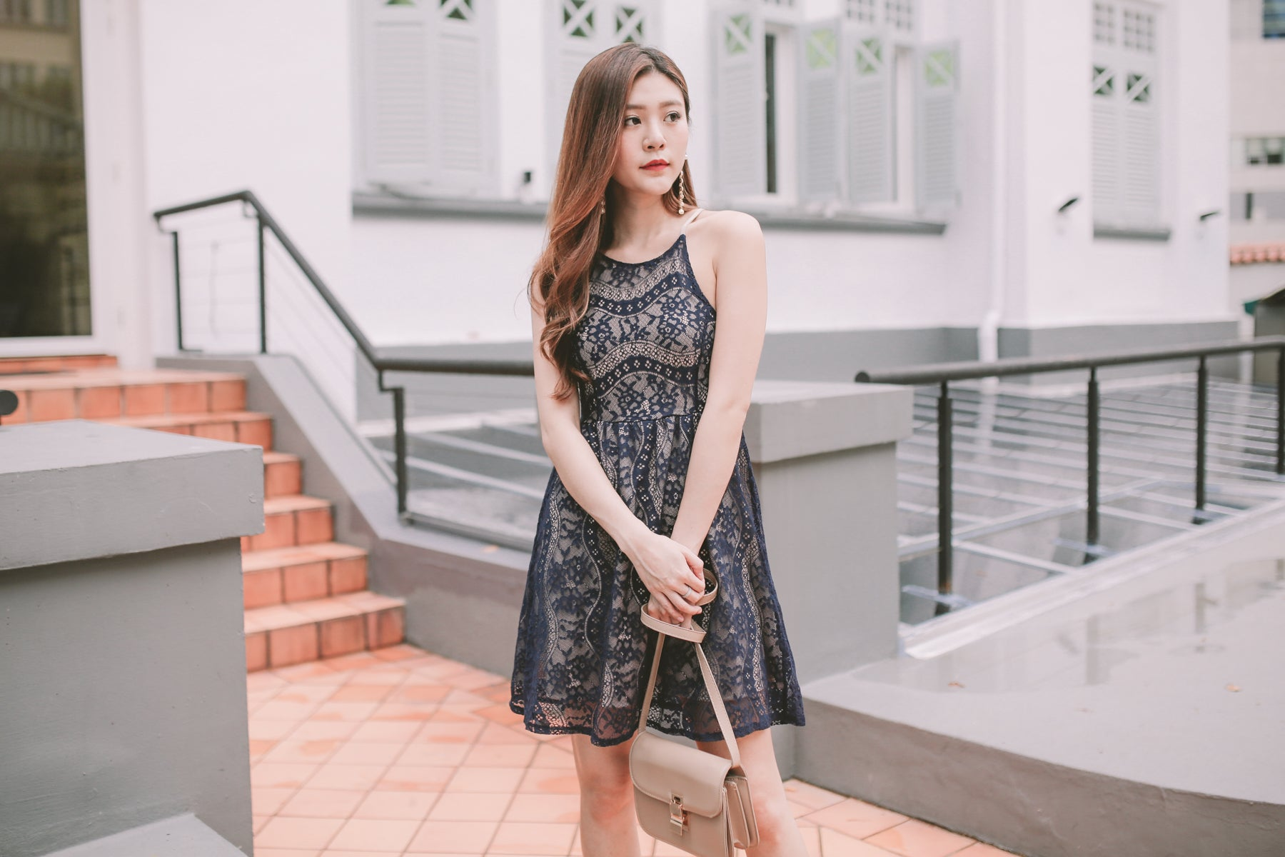 Wilma Lace Overlay Dress in Navy