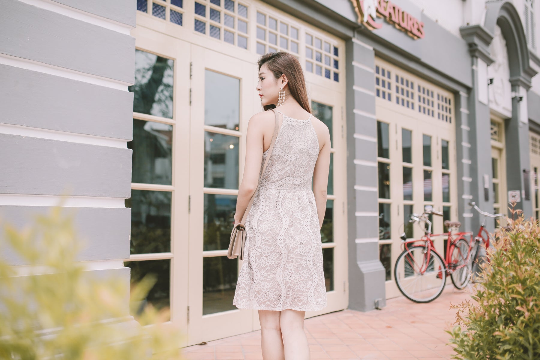 Wilma Lace Overlay Dress in Ivory