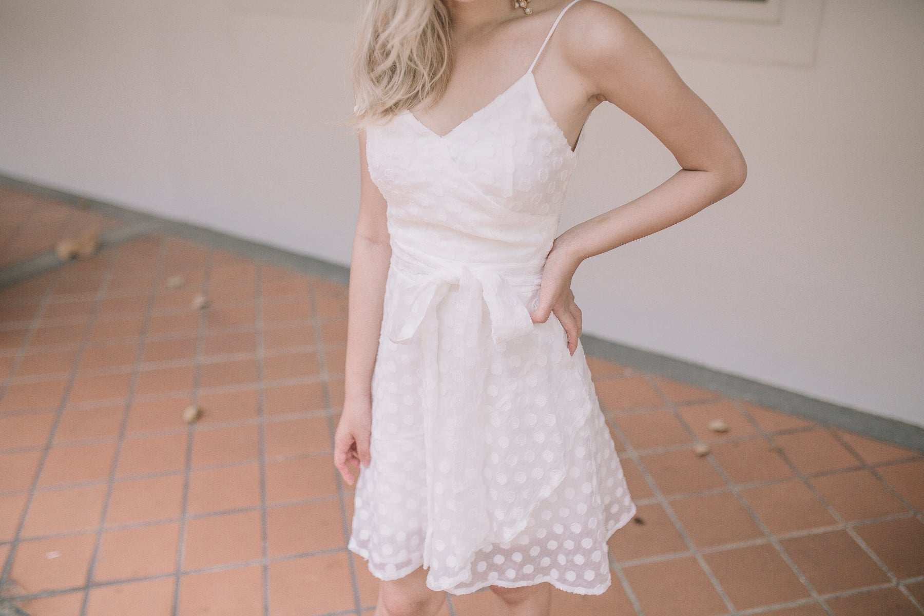 Polka Dot Textured Dress in White