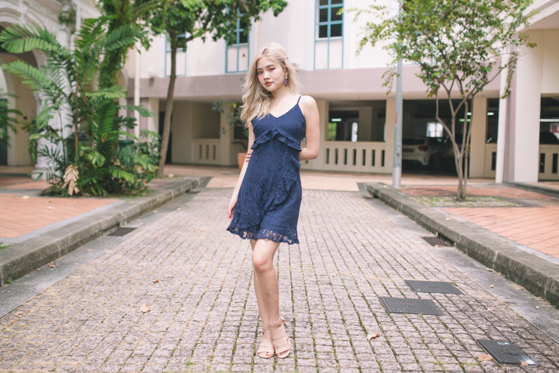 Natalia Lace Dress in Navy