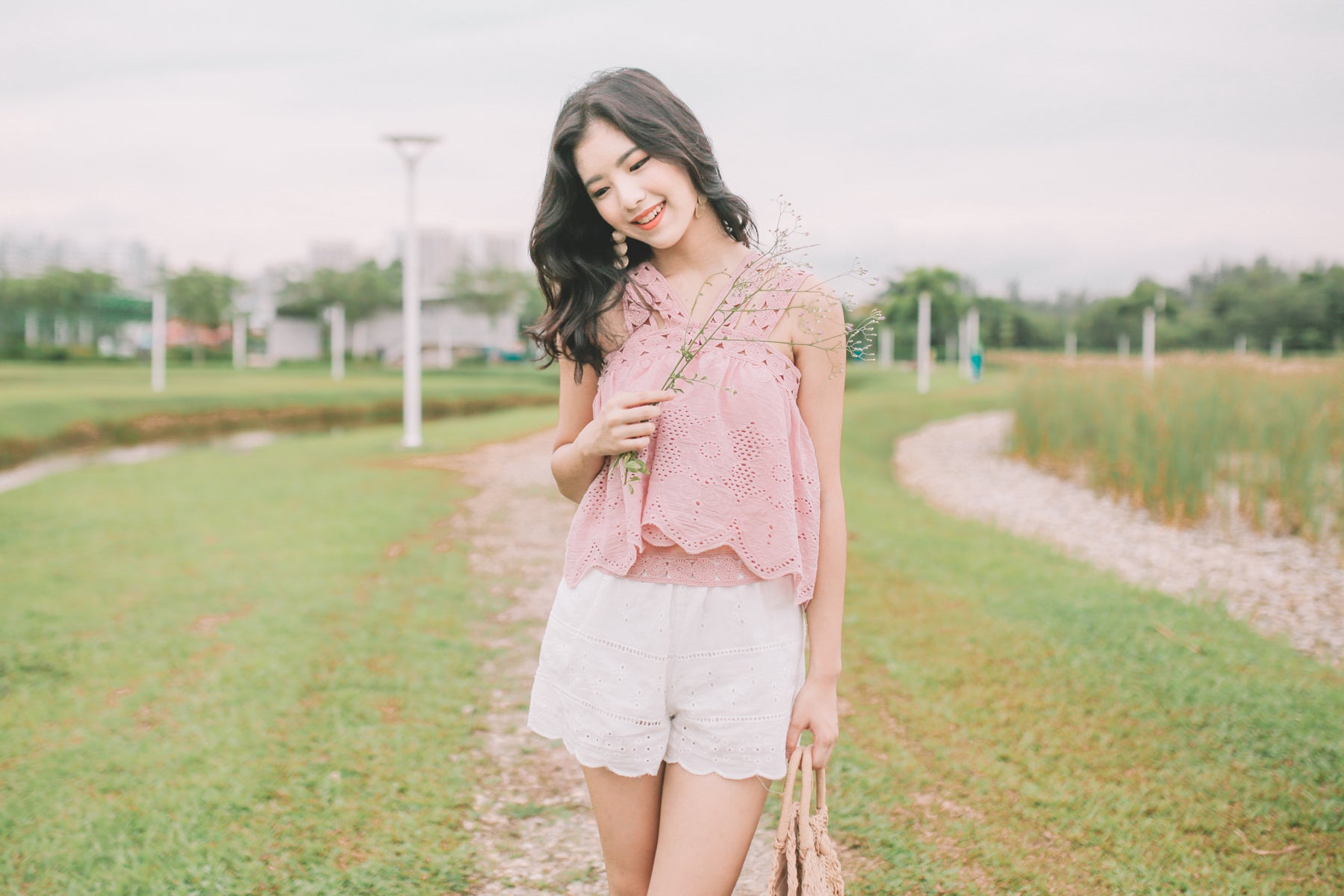 Olinda Crochet Lace Top in Pink