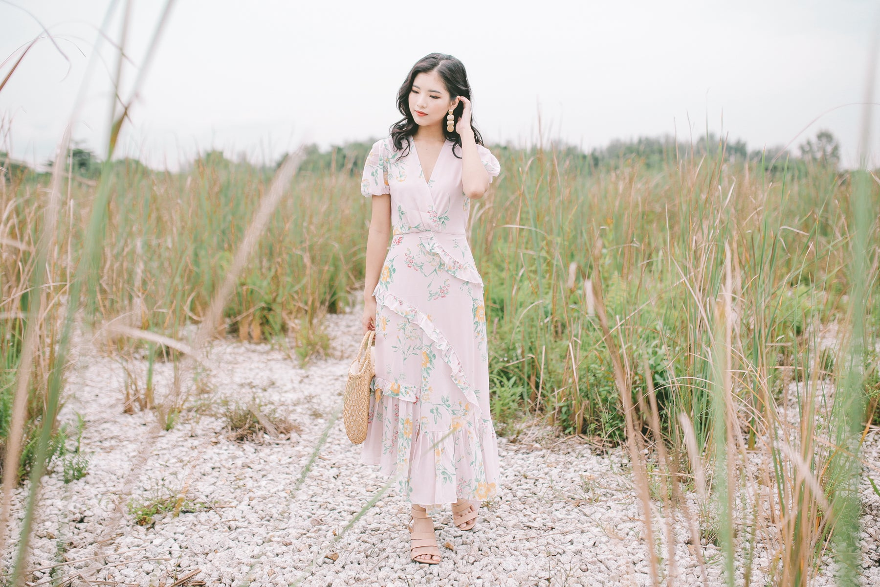 [Restocked] Floral Surplice Maxi Dress