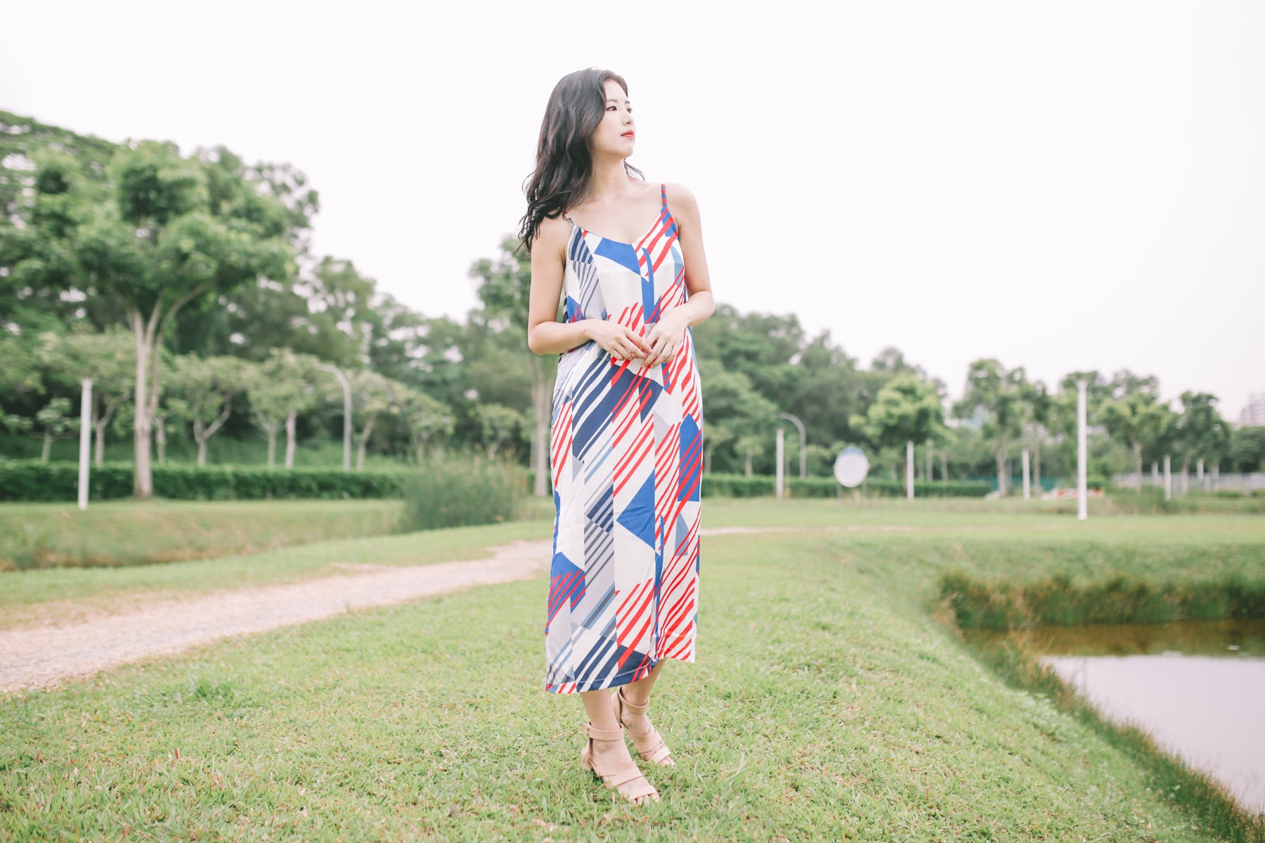 Abstract Print Slip Dress