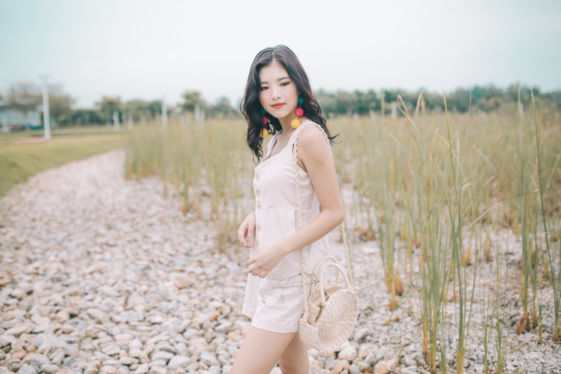 [Restocked] Linen Tie-Back Romper in Cream
