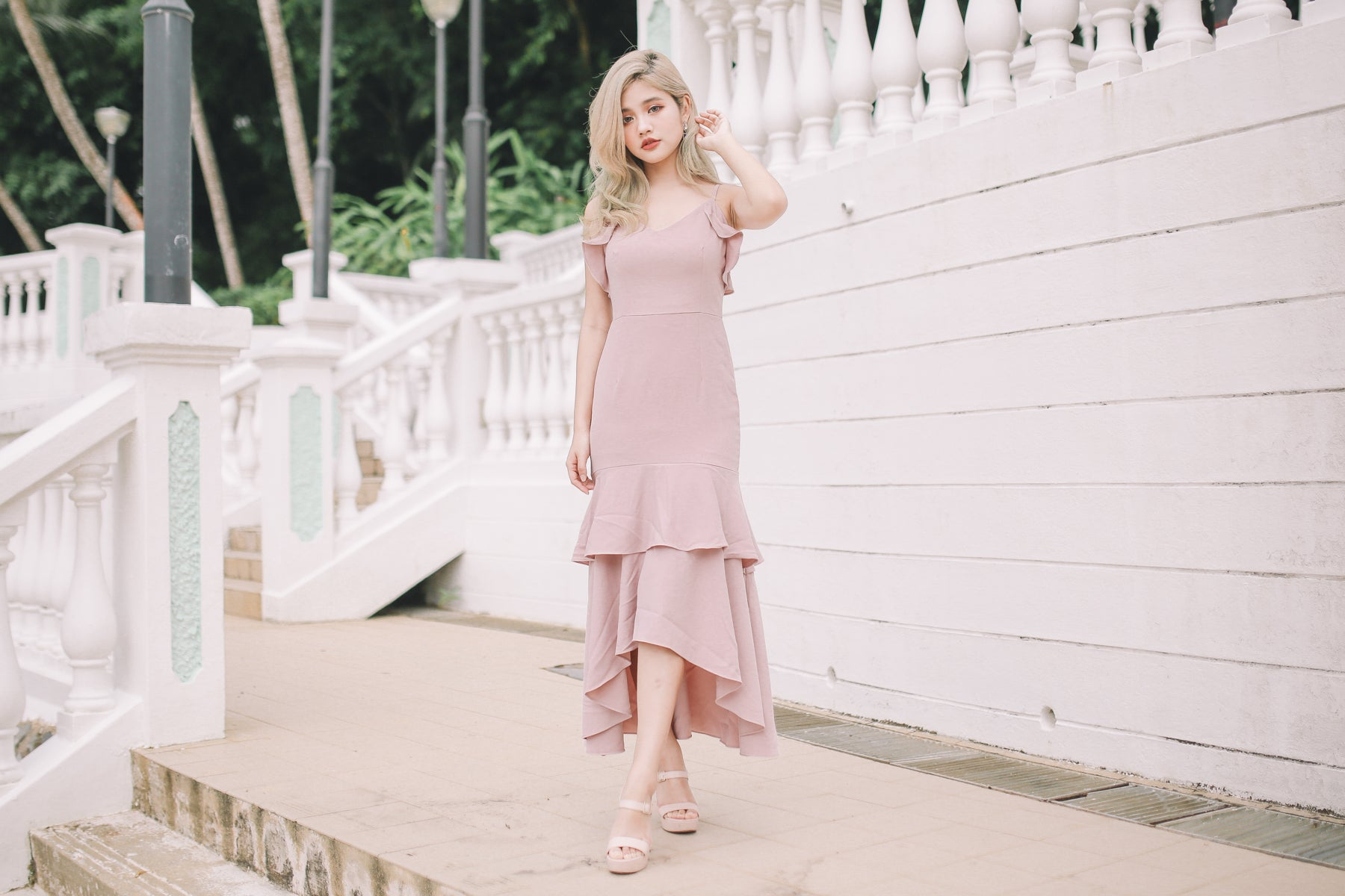 Eryn Ruffled Maxi Dress in Pink