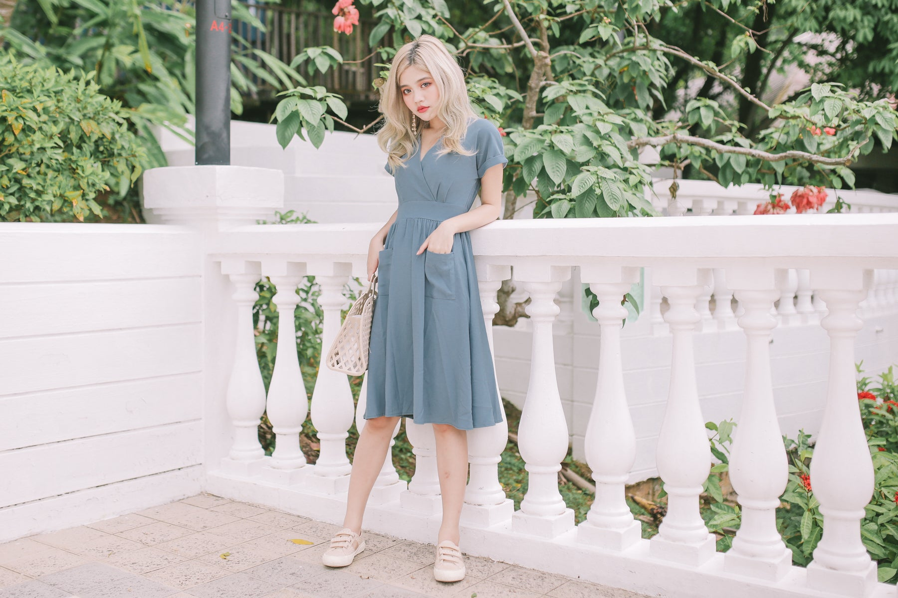 [Restocked] Daena Pocket Midi Dress in Slate Blue