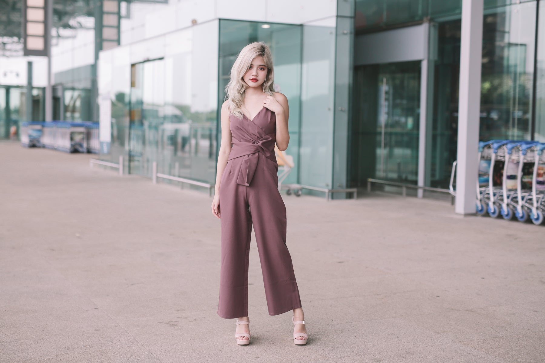 Bella Waist-Tie Jumpsuit in Mauve