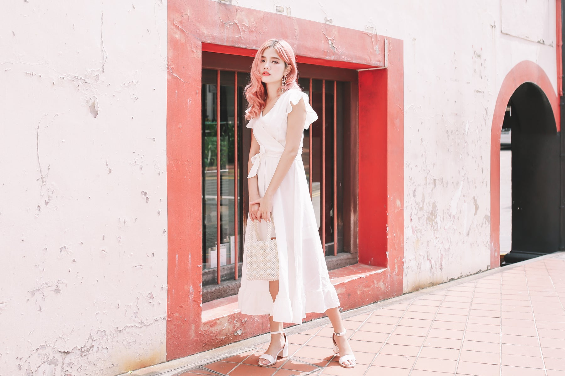 [Restocked] *MFW LABEL* Lilly Surplice Midi Dress in White