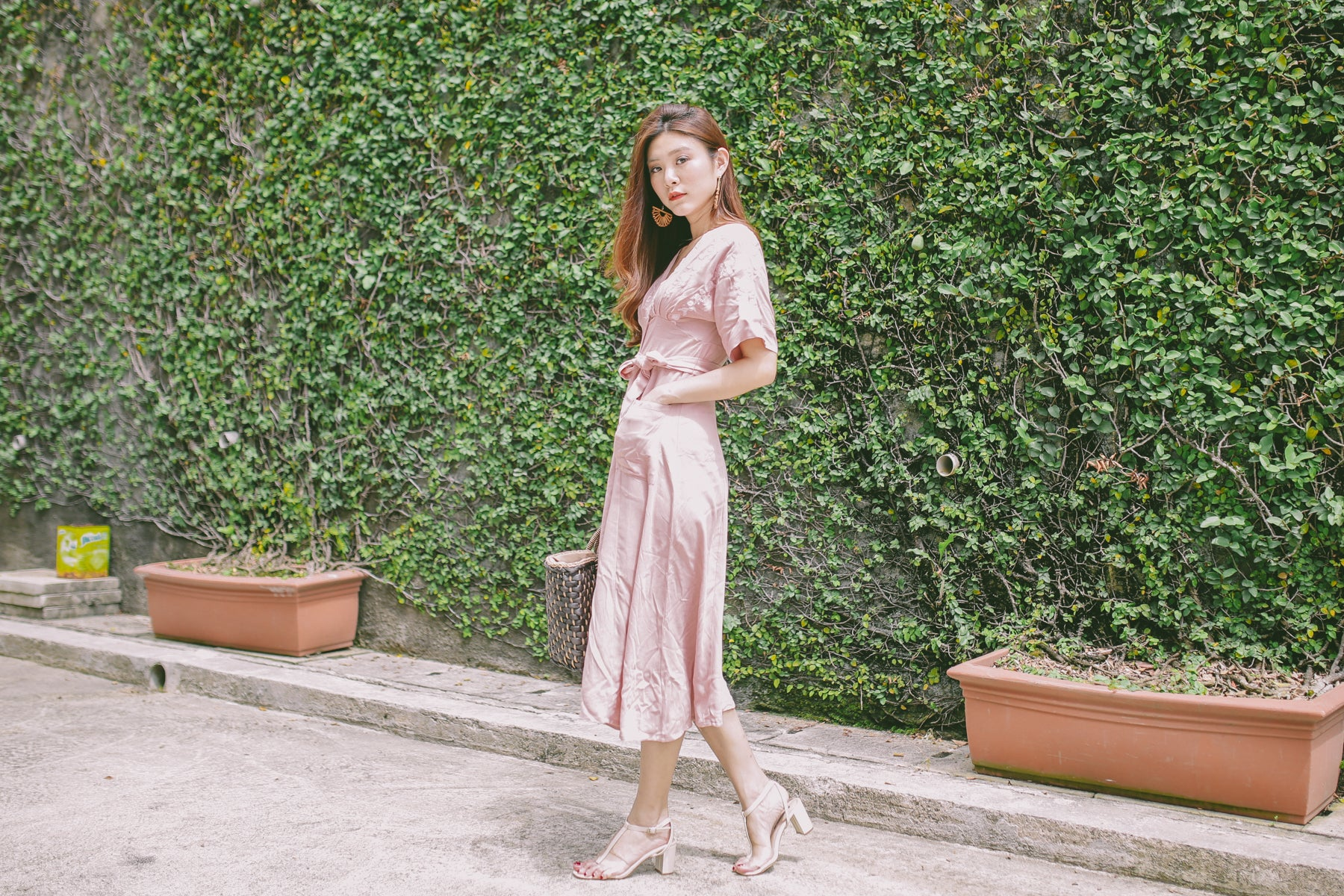 Embroidered Linen Midi Dress in Pink