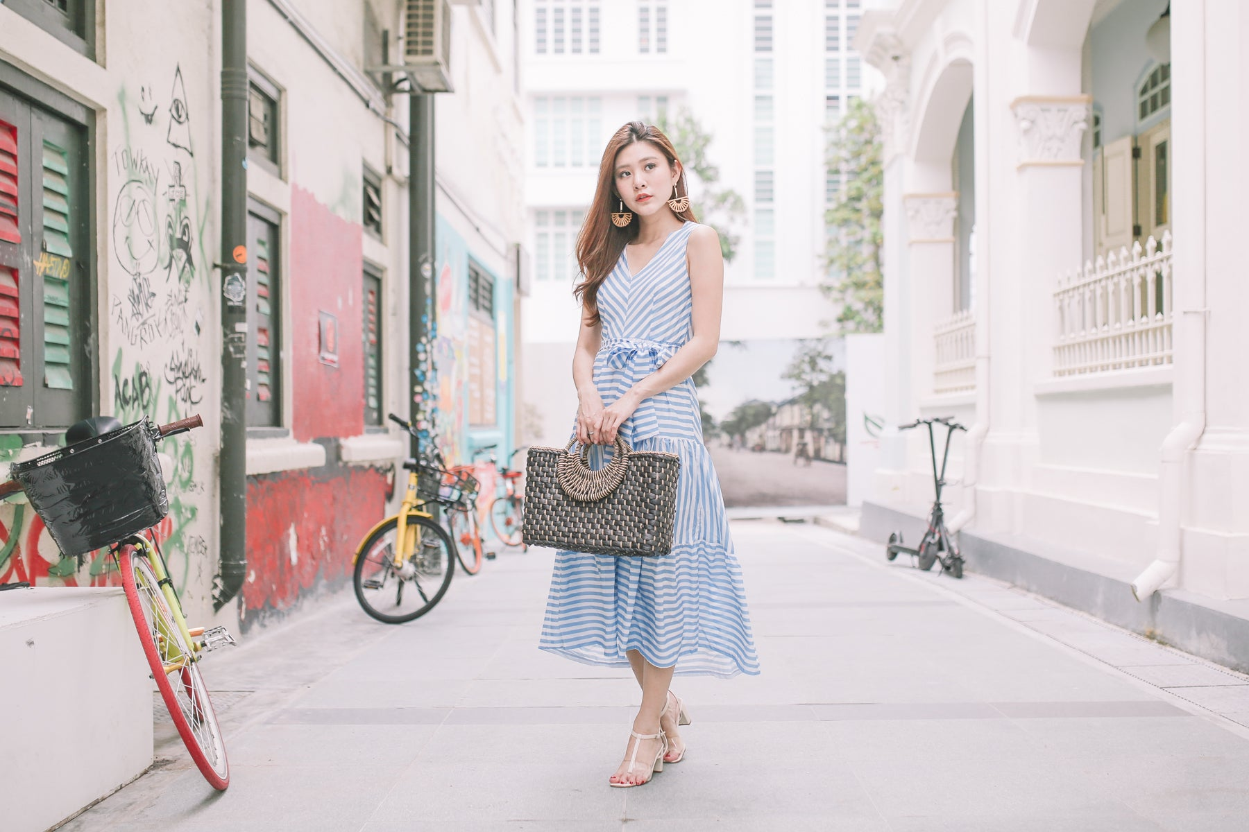 [Restocked] Jordyn Mixed Stripe Maxi Dress in Blue