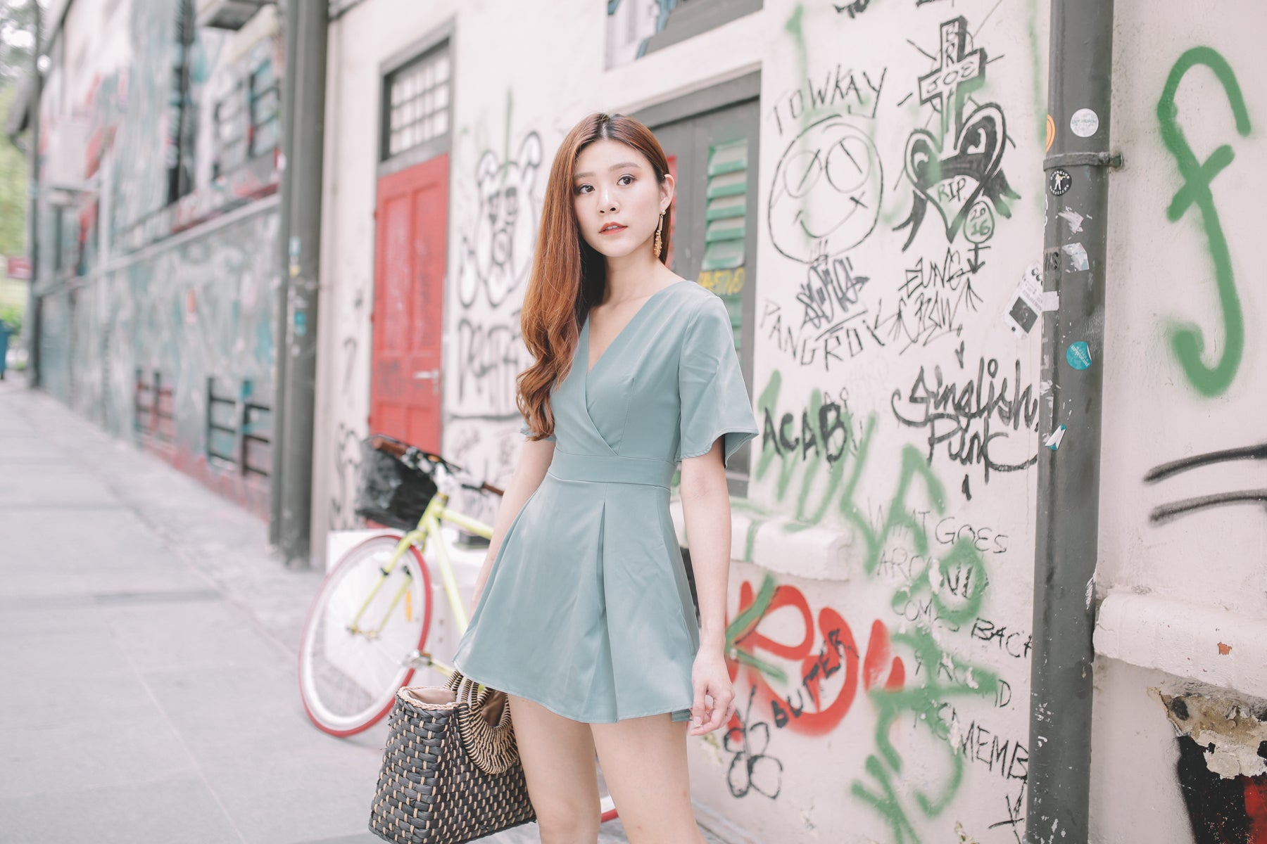 Nevaeh Surplice Skorts Romper in Mint