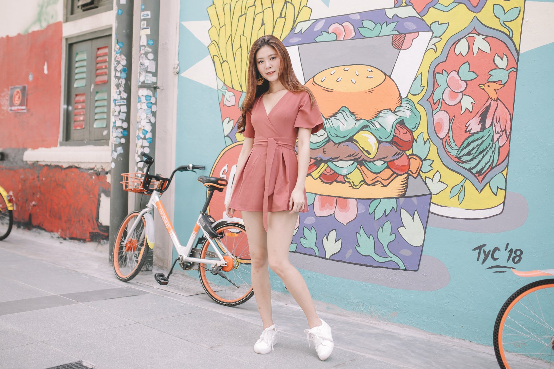 [Restocked] Nevaeh Surplice Skorts Romper in Rosewood