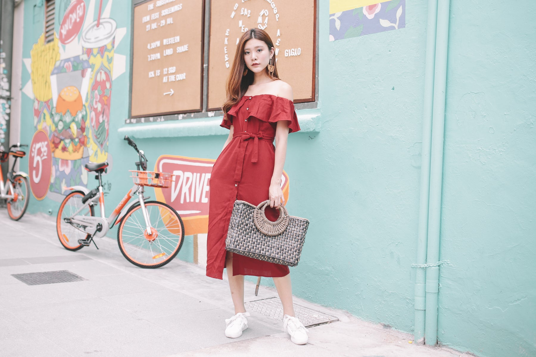 [Restocked] Cali Linen Off Shoulder Midi Dress