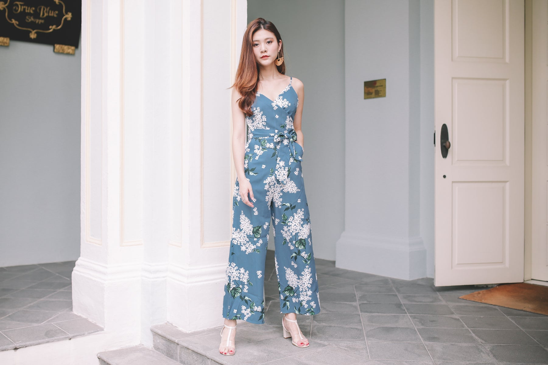 Thea Floral Wrap Jumpsuit in Teal