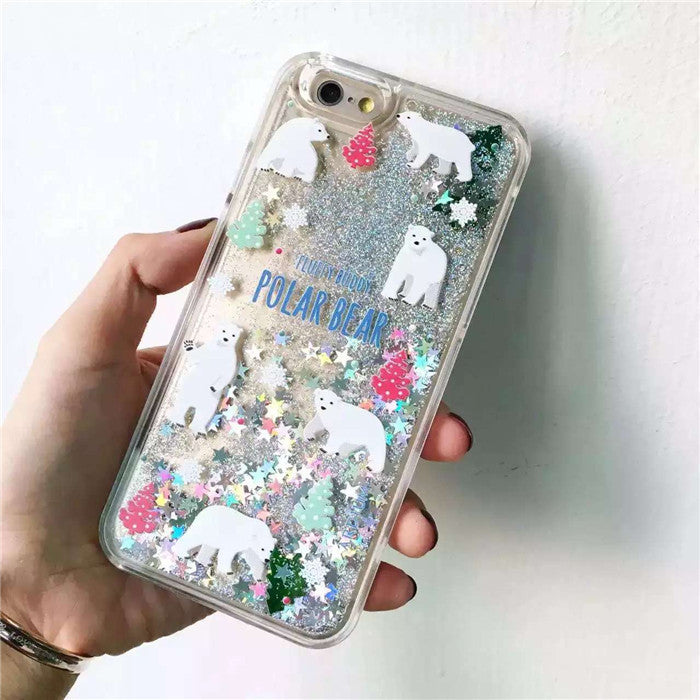 Polar Bear X'mas Falling Glitter iPhone Case