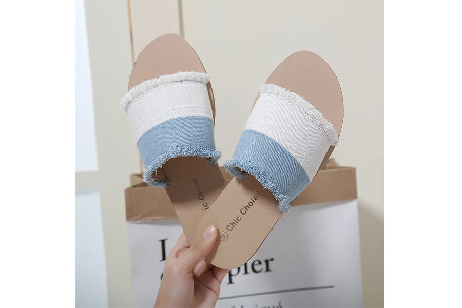 Two Tone Denim Slide Sandals