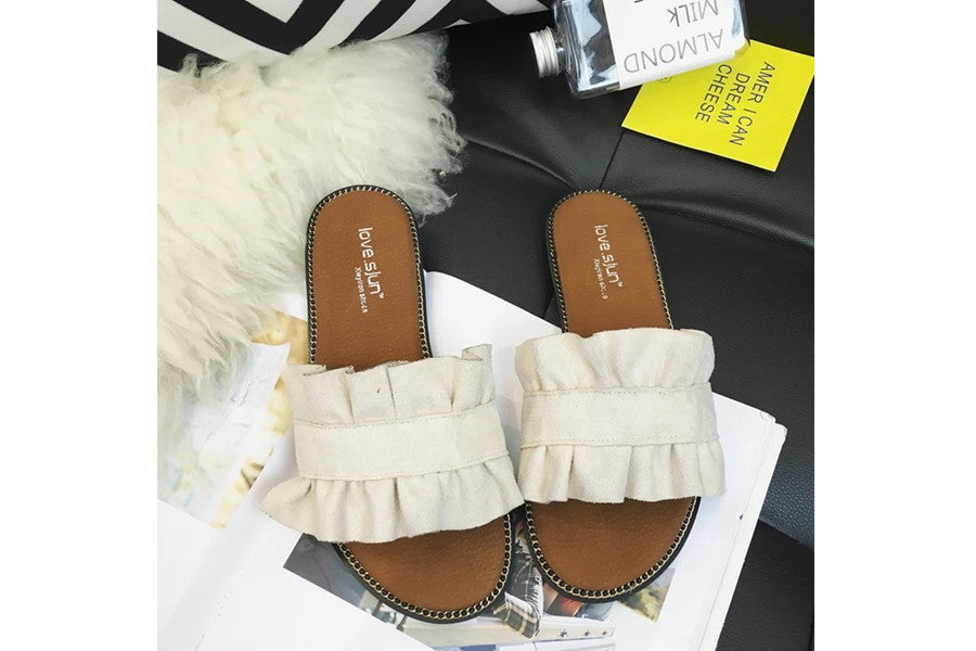 [Preorder] Ruffle Slide Sandals