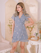 [Restocked] Audrey Embroidered Floral Dress in Periwinkle Blue