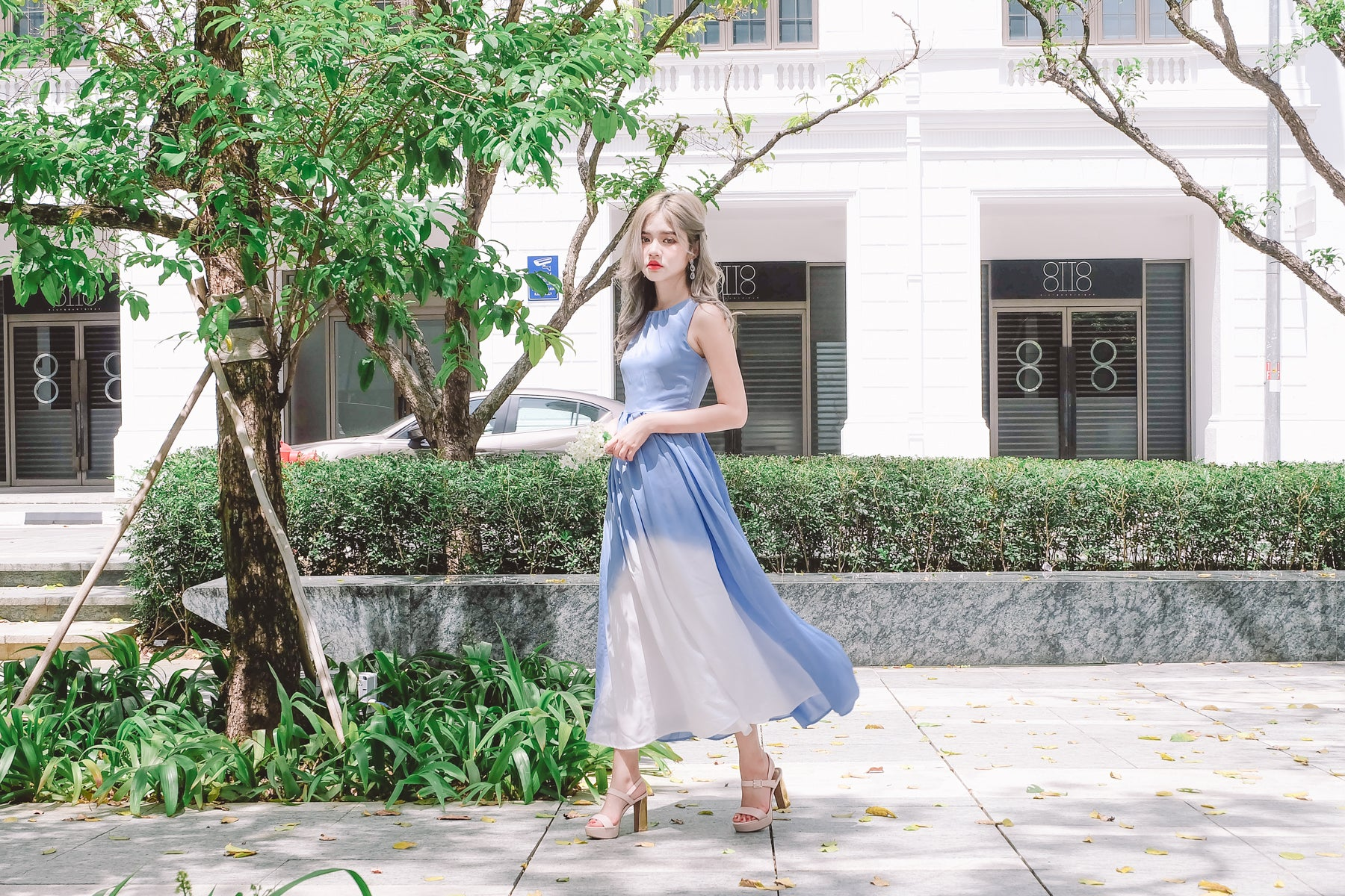 Ombre Maxi Dress in Blue