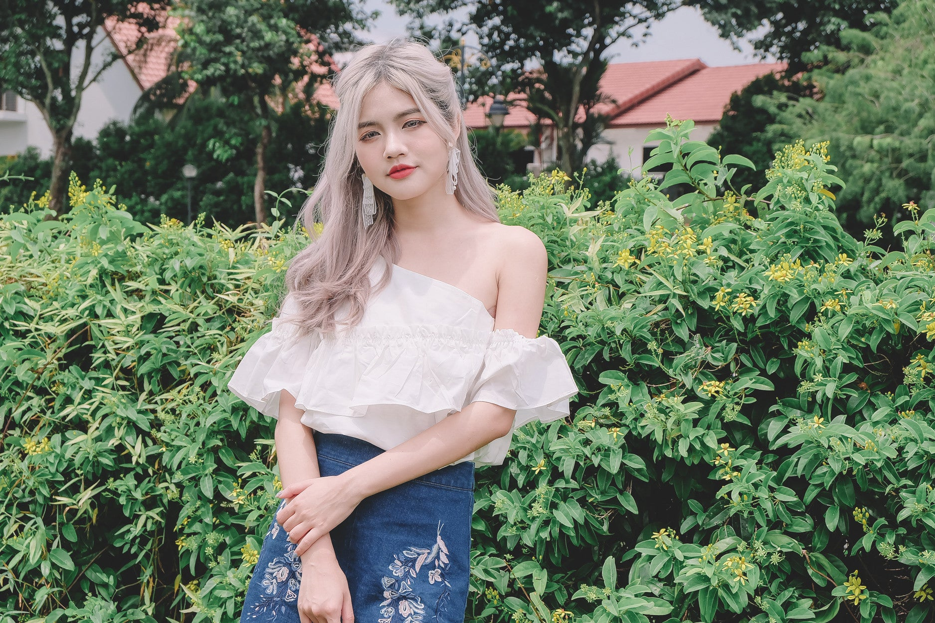 [Backorder] One Shoulder Ruffled Top in White