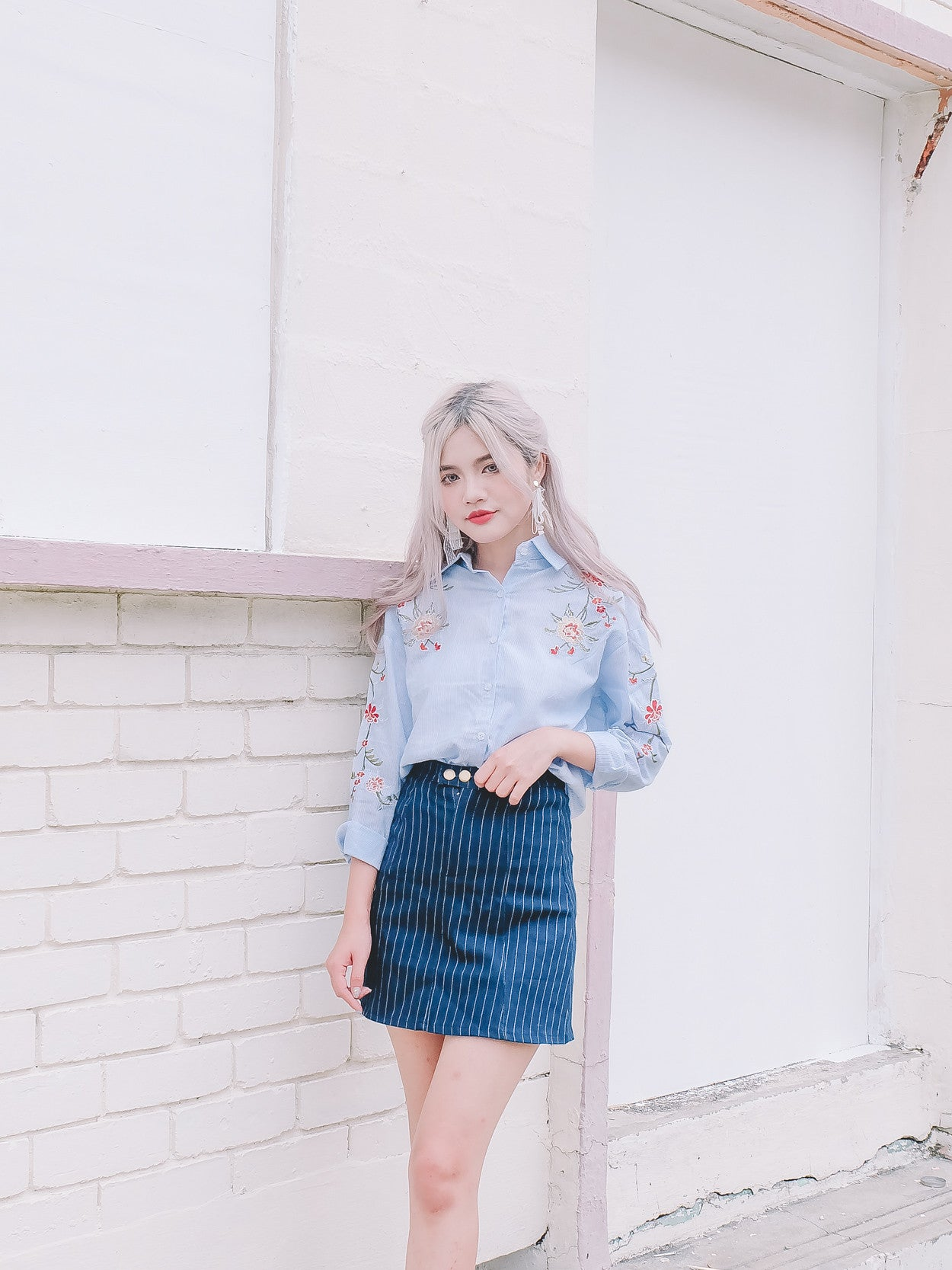 [Restocked] Floral Embroidered Shirt