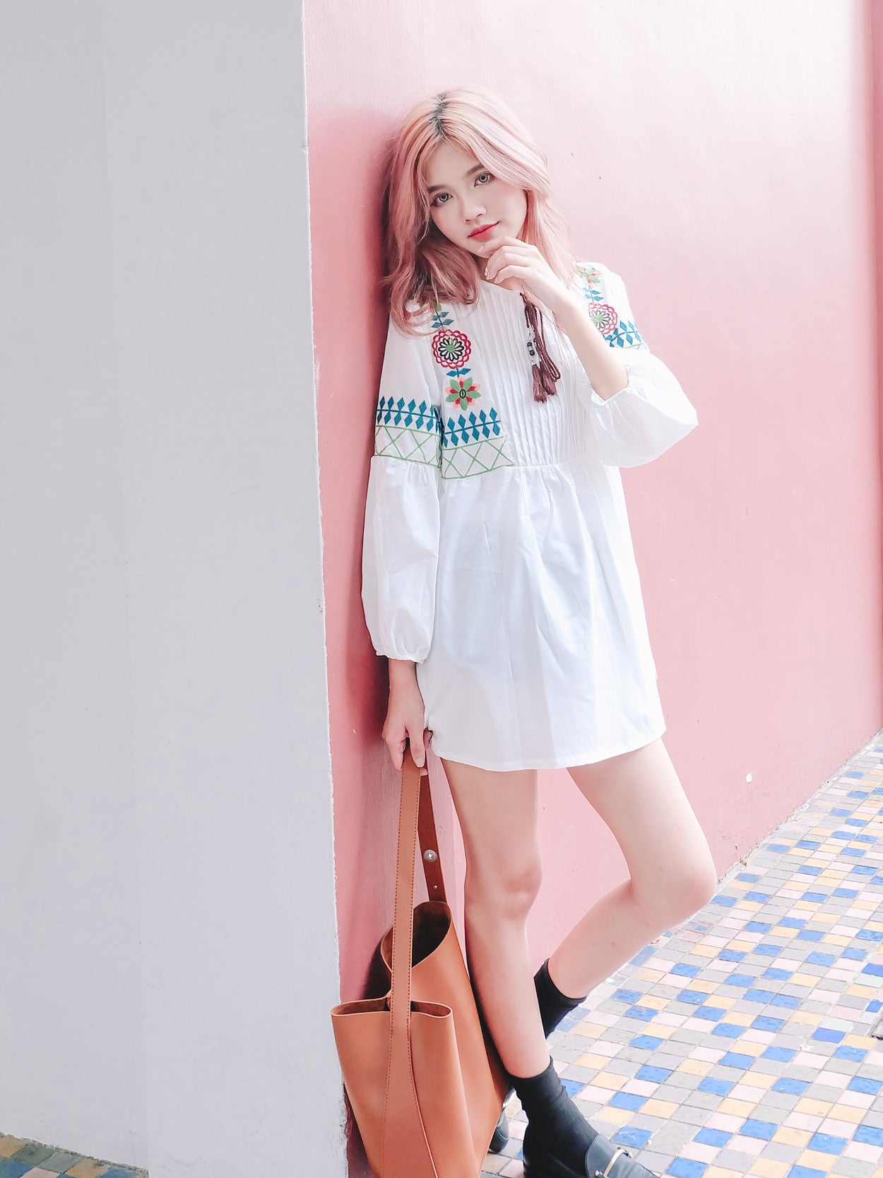 [Restocked] Embroidered Babydoll Tunic in White