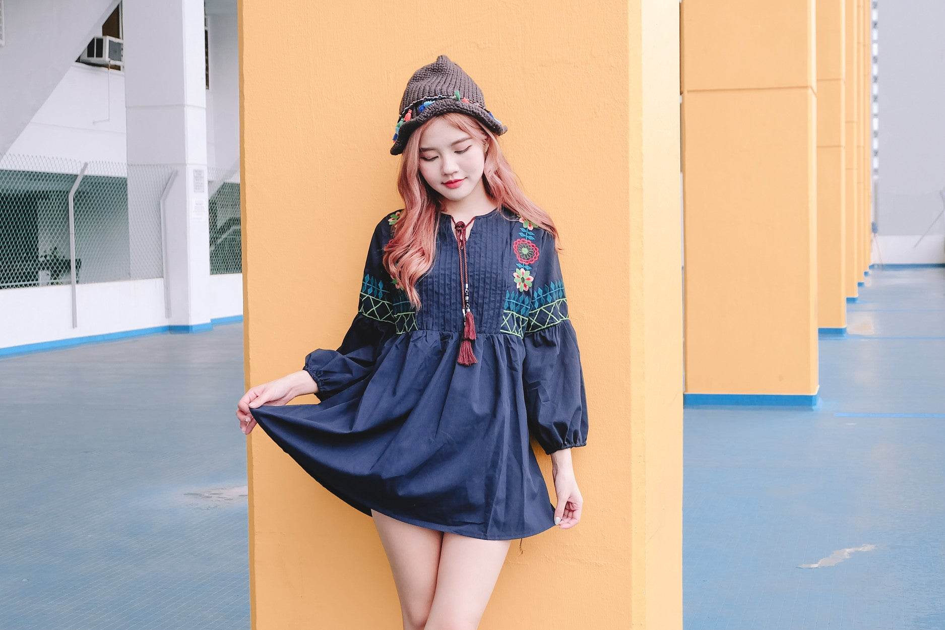 [Restocked] Embroidered Babydoll Tunic in Navy