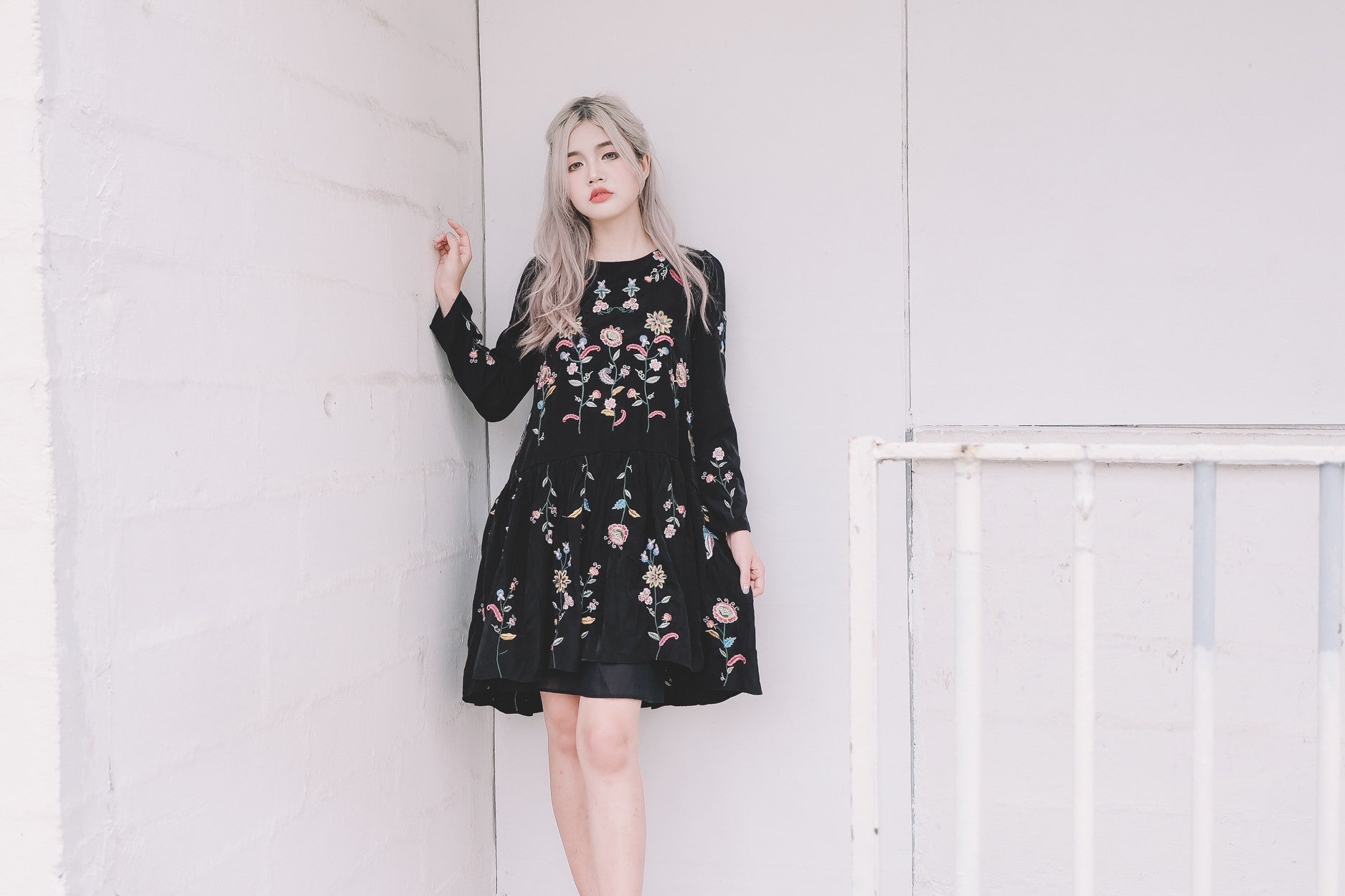 Embroidered Floral Dress in Black