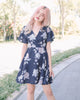 [Restocked] Tessa Floral Surplice Dress in Navy