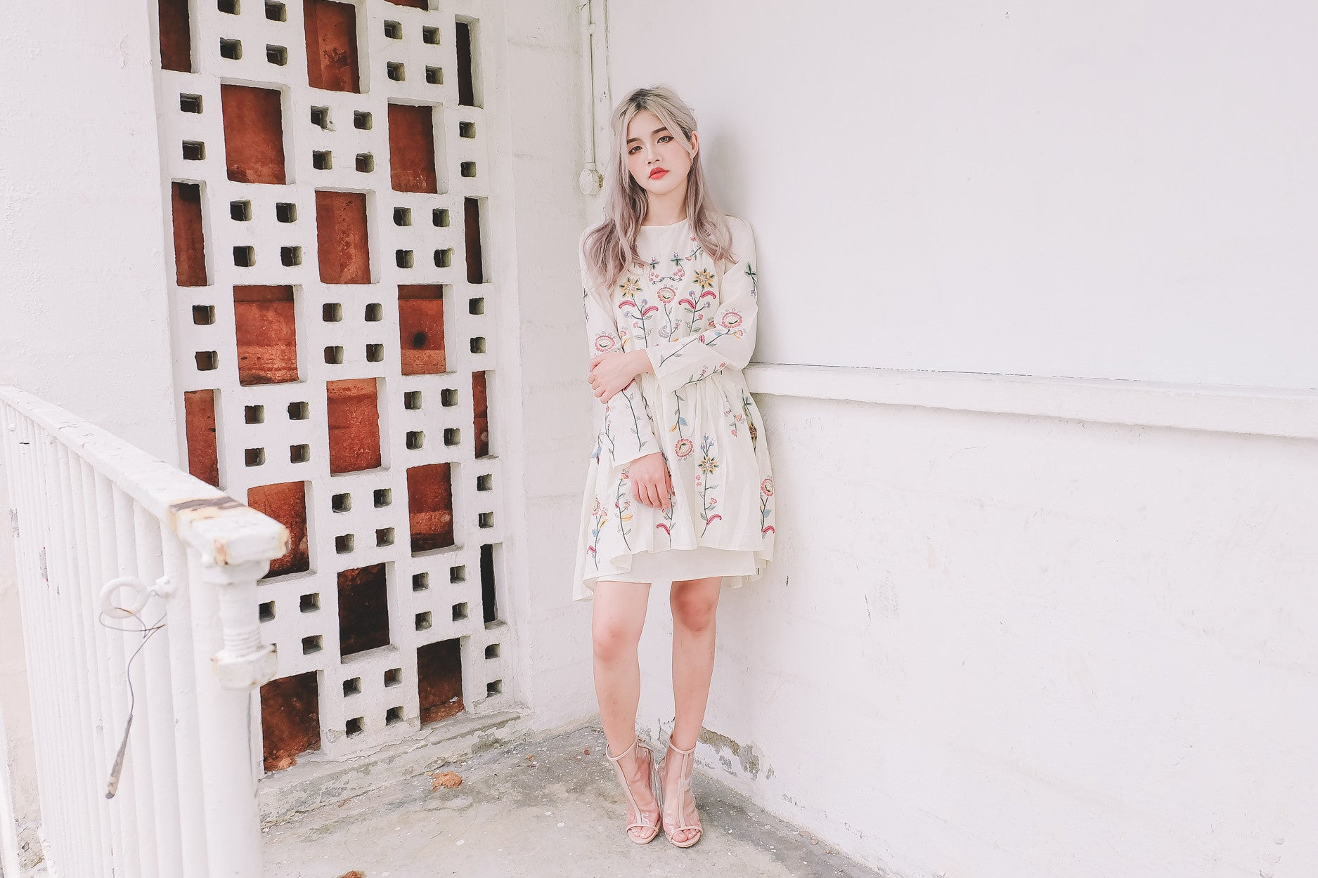 [Restocked] Embroidered Floral Dress in Cream
