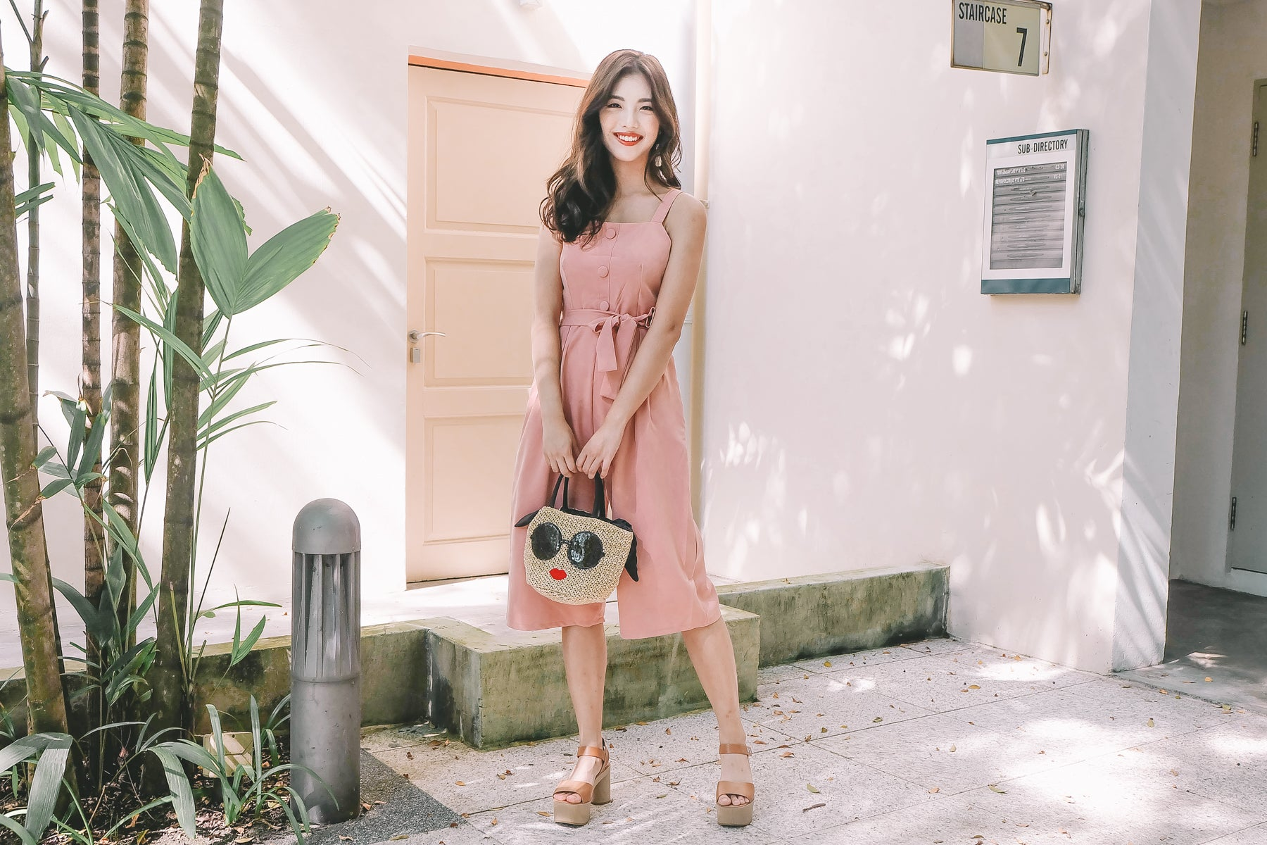 [Restocked] Faux Button Jumpsuit in Pink