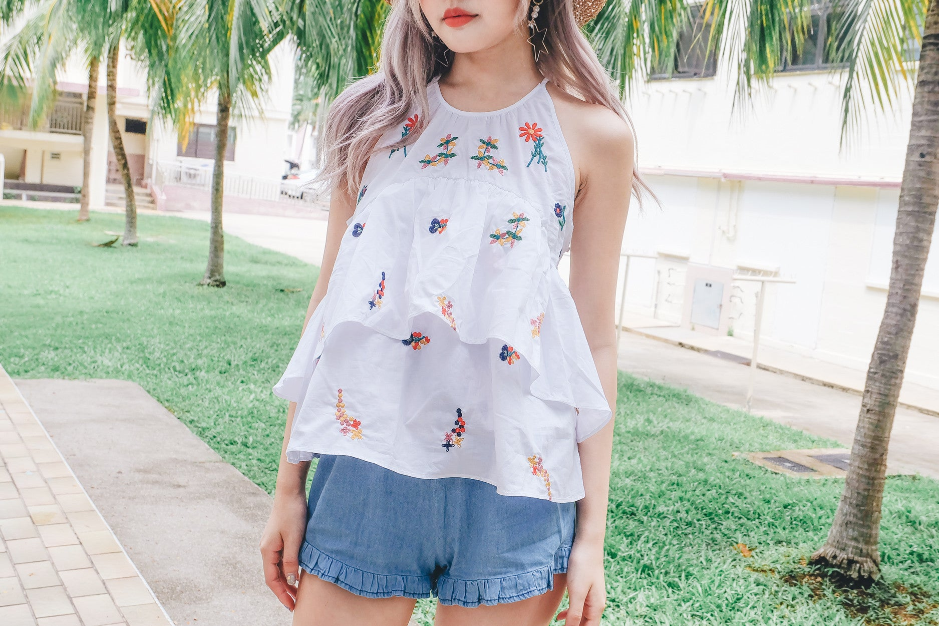 [Restocked] Floral Embroidered Ruffle Top
